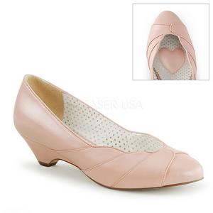 Roze 4 cm LULU-05 Pinup pumps schoenen met lage hakken