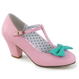 Roze 6,5 cm WIGGLE-50 Pinup pumps schoenen met blokhak