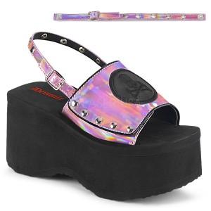 Roze 9 cm Demonia FUNN-32 lolita sandalen met plateau