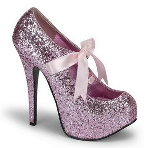 Roze Glitter 14,5 cm Burlesque TEEZE-10G Platform Pumps Schoenen