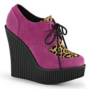 Roze Kunstleer CREEPER-304 wedge creepers schoenen sleehakken