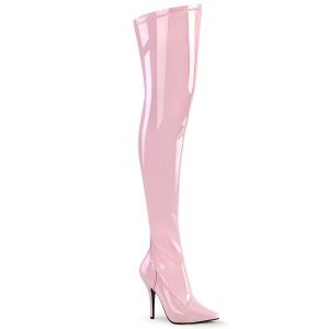 Roze Lak 13 cm SEDUCE-3000 overknee laarzen met hakken