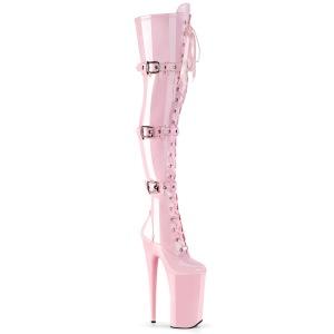 Roze Lakleer 25,5 cm BEYOND-3028 super hoge hakken - extreme overknee laarzen