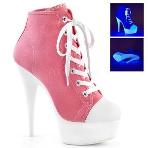 Roze Neon 15 cm DELIGHT-600SK-02 canvas sneakers met hoge hakken