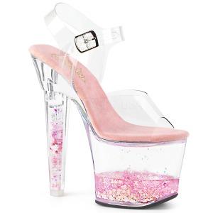 Roze glitter 18 cm LOVESICK-708GH paaldans schoenen met hoge hakken