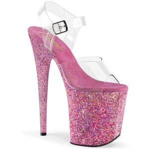 Roze glitter 20 cm FLAMINGO-808CF paaldans schoenen met hoge hakken