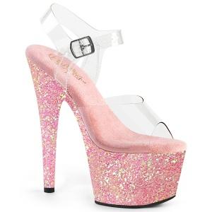 Roze glitter plateau 18 cm ADORE-708LG pole dance schoenen met hoge hakken