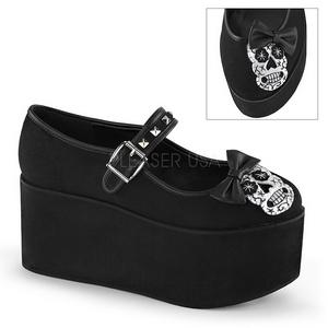 Schedel zeildoek 8 cm CLICK-02-3 lolita gothic schoenen dikke zolen