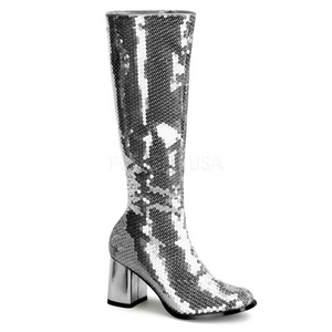 Silver Sequins 8 cm SPECTACUL-300SQ Women Knee Boots