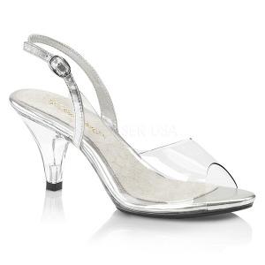 Transparant 8 cm BELLE-350 sandalen met naaldhak