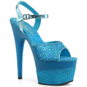 Turquoise 18 cm ADORE-709-2G glitter plateau sandalen met hak