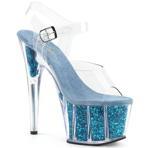 Turquoise glitter 18 cm Pleaser ADORE-708G paaldans schoenen met hoge hakken