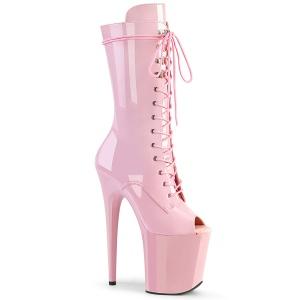 Vegan 20 cm FLAMINGO-1051 open teen platform laarzen met hak rosa