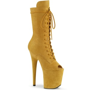 Vegan 20 cm FLAMINGO-1051FS open teen platform laarzen met hak geel