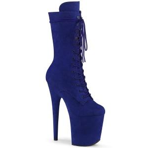 Vegan suede 20 cm FLAMINGO-1050FS pole dance laarzen met hak in blauw