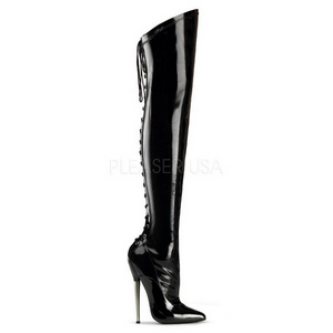 Vinyl 16 cm DAGGER-3060 fetish overknee boots shiny