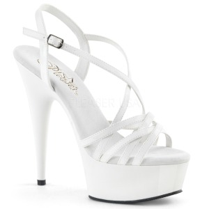 White 15 cm Pleaser DELIGHT-613 Womens High Heel Sandals