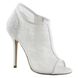 White Mesh 13 cm AMUSE-56 High Heeled Evening Pumps Shoes
