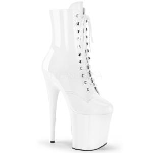 White Patent 20 cm FLAMINGO-1020 Platform Ankle Calf Boots