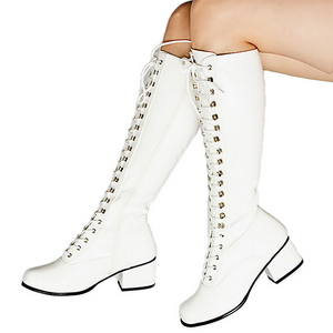 White Patent 5 cm RETRO-302 High Heeled Lace Up Boots