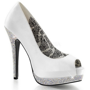 White Satin 13,5 cm BELLA-12R Rhinestone Platform Pumps Shoes