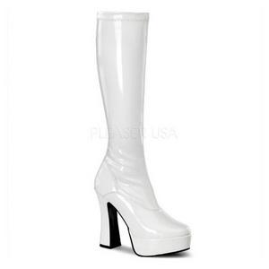 White Shiny 13 cm ELECTRA-2000Z Platform Knee Boots