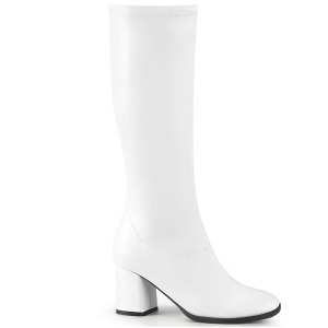 White Vegan 7,5 cm GOGO-300-2 boots with block heels