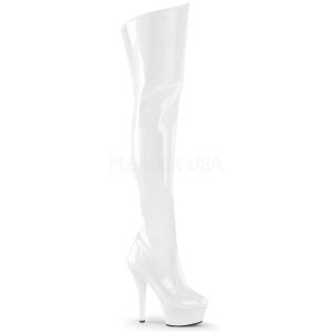 Wit 15 cm KISS-3010 overknee laarzen met plateauzool