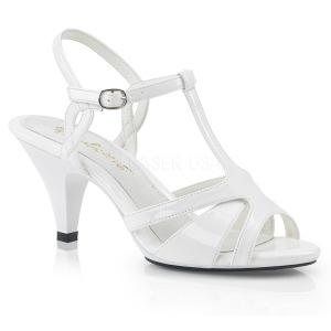 Wit 8 cm Fabulicious BELLE-322 sandalen met lage hak