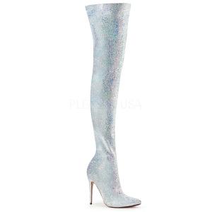 Wit Glitter 13 cm COURTLY-3015 Pleaser Overknee Laarzen