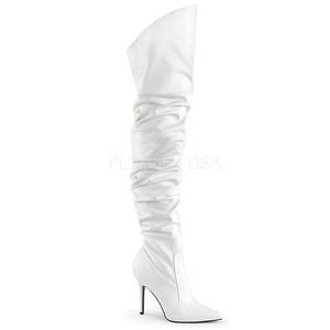 Wit Kunstleer 10 cm CLASSIQUE-3011 Over de Knielaarzen Hoge Hak
