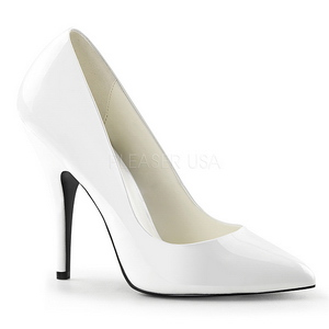 Wit Lak 13 cm SEDUCE-420 pleaser pumps met puntneus