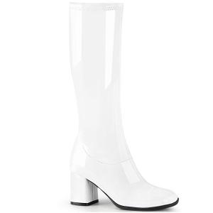 Wit Lakleer 7,5 cm GOGO-300-2 laarzen met blokhak