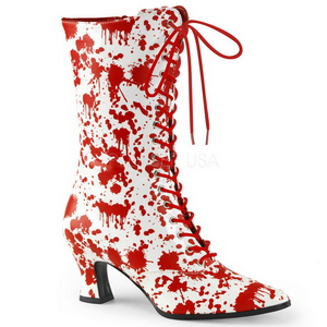 Wit Rood 7 cm VICTORIAN-120BL Dames enkellaarsjes met veters