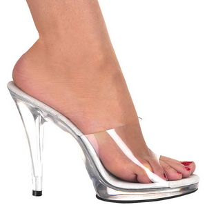 Wit Transparant 12 cm FLAIR-401 Hoge Mules Schoenen voor Mannen