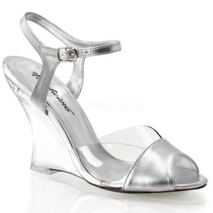 Zilver 10,5 cm LOVELY-442 Hoge Sandalen met Sleehakken