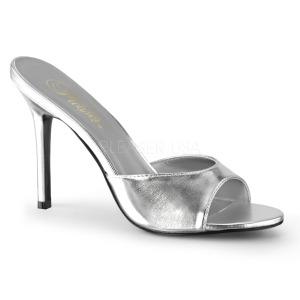 Zilver 10 cm CLASSIQUE-01 dames slippers met hak