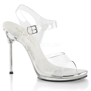 Zilver 11,5 cm CHIC-08 Sandalen met stiletto hak