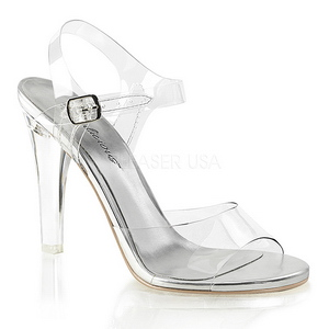 Zilver 11,5 cm CLEARLY-408 Hoge avond sandalen met hak