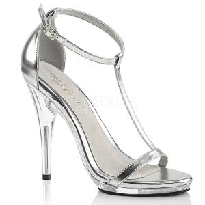 Zilver 12,5 cm Fabulicious POISE-526 sandalen met naaldhak