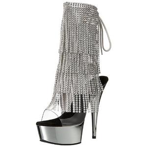 Zilver 15 cm DELIGHT-1017RSF dames enkellaarsjes met franjes
