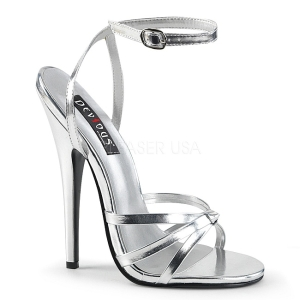 Zilver 15 cm Devious DOMINA-108 sandalen met naaldhak
