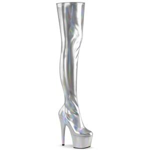 Zilver 18 cm ADORE-3000HWR Hologram pole dance overknee laarzen met hak