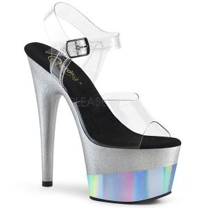 Zilver 18 cm ADORE-708-2HGM glitter plateau schoenen met hakken