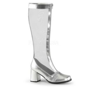 Zilver 8,5 cm GOGO-307 net laars dames met hoge hakken