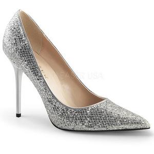 Zilver Glitter 10 cm CLASSIQUE-20 naaldhak pumps met puntneus