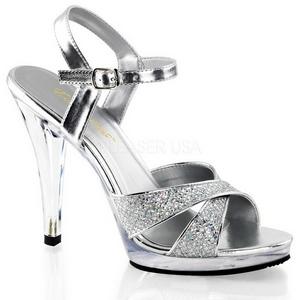 Zilver Glitter 12 cm FLAIR-419G Hoge Hakken voor Mannen
