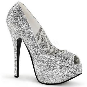 Zilver Glitter 14,5 cm Burlesque BORDELLO TEEZE-22G Plateau Pumps Hoge Hak