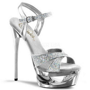 Zilver Glitter 16,5 cm Pleaser ECLIPSE-619G Plateau Stiletto Hakken