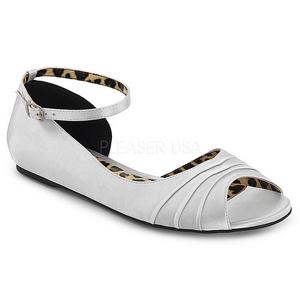 Zilver Satijn ANNA-03 grote maten ballerina´s schoenen